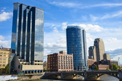 Die Skyline von Grand Rapids Michigan Stockfotos