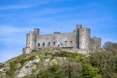 Die Skyline von Harlech mit ihm ` s des 12. Jahrhundertsschloss, Wales, Vereinigtes Königreich Lizenzfreie Stockfotografie