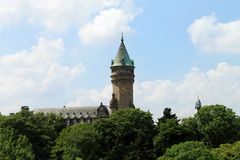 Die Skyline von Luxemburg Stockfoto