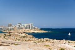 Die Skyline von Valletta Stockfotos