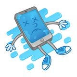 Die smartphone after water. Isometric sad lie dead wet smartphone iphone mobile phone tablet gadget after getting into the water need repair service help. Modern Royalty Free Stock Photography