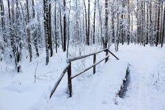 Die snow-covered Brücke Stockfotos