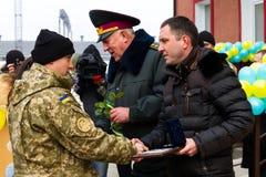 Die Soldaten der bewaffneten Kräfte von Ukraine, die teilnahmen stockfotografie