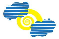 Die Sonne als Spirale und zwei streiften Wolkenikone Stockbilder