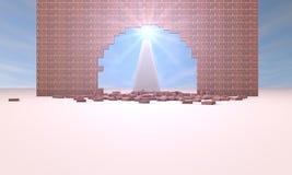 Die Sonne durch den Sprung in der Wand Stockfotos