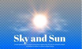 Die Sonne und der Himmel Verwittern Sie und prognostizieren Sie einen transparenten Hintergrund Auch im corel abgehobenen Betrag Stockfotografie