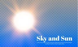 Die Sonne und der Himmel Verwittern Sie und prognostizieren Sie einen transparenten Hintergrund Auch im corel abgehobenen Betrag Lizenzfreies Stockfoto