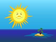 Die Sonne und die Insel Stockbild