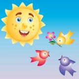 Die Sonne und die Vögel. Lizenzfreie Stockfotos