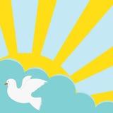 Die Sonne, Wolke und die Taube Stockbilder