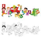 Die Spaßkinder, die englische Karten halten Stockfoto