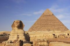 Die Sphinx und die Pyramide von Khafre, Kairo Lizenzfreies Stockfoto