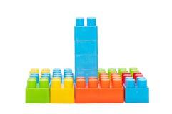 Die Spielwaren der bunte Kinder, Plastikbausteine Stockfotografie