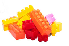 Die Spielwaren der bunte Kinder, Plastikbausteine Stockfoto