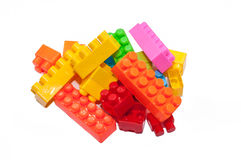 Die Spielwaren der bunte Kinder, Plastikbausteine Stockbild