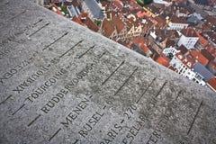 Die Spitze des Belforts in Brügge Stockbild