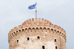 Die Spitze des weißen Turms von Saloniki stockfoto