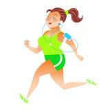 Die sportliche Frau, die läuft, Gewichtskilokalorien in Herden lebend, hört auf musi Lizenzfreie Stockfotos