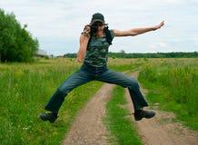 Die springenden und Männer, fotografierenden Stockfotos