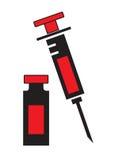 Die Spritze und Phiole füllen Ikonenvektor lokalisiert im weißen Hintergrund ab Lizenzfreies Stockbild