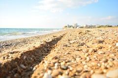 Die Spur eines Motorrades auf einem sandigen Strand nahe dem Meer auf einer sonniger Tagesnahaufnahme Stockfotos