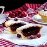 Die Stücke der Torte mit Moosbeeren Lizenzfreies Stockfoto