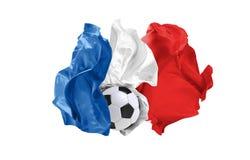 Die Staatsflagge von Frankreich Fußball-Weltmeisterschaft Russland 2018 stockbild