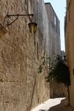 Die Stadt der Ruhe Einsame Straße Mdina Alte Stadt Malta-Besichtigung stockfoto
