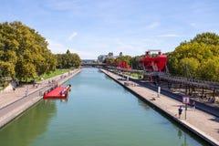 Die Stadt der Wissenschaft und der Industrie im Villette Park Parc de la Villette in Paris, Frankreich lizenzfreies stockbild
