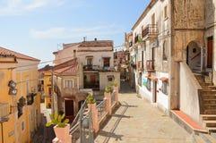 Die Stadt des Heiligen Nicola Arcella in Kalabrien stockfotos