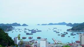 Die Stadt an einer Bucht Cat Ba Panoramische Landschaftsansicht von Cat Ba City von Cat Ba Island, Vietnam stock video
