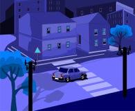 Die Stadt nachts auf dem Straßenauto reitet, Illustration in der Kälte und Nachtfarben Lizenzfreies Stockfoto