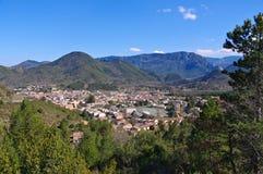 Die Stadt Quillan in Frankreich lizenzfreies stockbild
