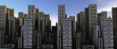 Die Stadt am Sonnenaufgang - das busi Stockfotografie