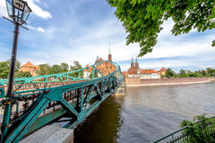 Die Stadt von Breslau ist eine Ansicht der Insel von Tumsk, auf der die Schlösser von Liebhabern Lizenzfreie Stockfotos