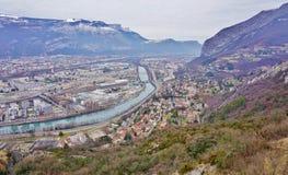 Die Stadt von Grenoble, die Hauptstadt der französischen Abteilung von Isere Stockfotos