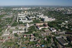 Die Stadt von Khabarovsk eine Art vom helicopte. lizenzfreie stockbilder