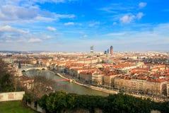 die Stadt von Lyon und von Fluss Saone, Lyon, Frankreich Stockbilder