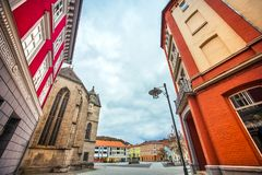 Die Stadt von Meiningen in Thüringen Deutschland lizenzfreie stockfotografie