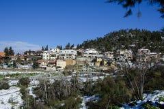 Die Stadt von Safed bedeckte mit Schnee Stockfoto