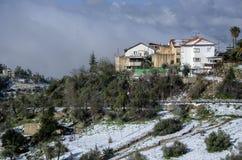 Die Stadt von Safed bedeckte mit Schnee Lizenzfreies Stockbild