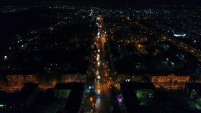 Die Stadtlichter nachts Nachtstadtstraße Schießen von den Höhen mit Brummen stock footage