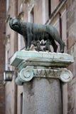 Die Statue von Romul und von Remus Stockbild