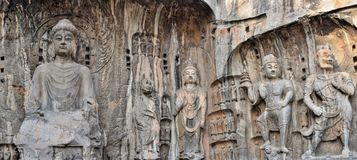 Die Steincarvings in den Longmen-Grotten stockfotos
