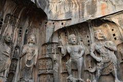Die Steincarvings in den Longmen-Grotten lizenzfreie stockfotografie