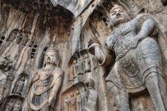Die Steincarvings in den Longmen-Grotten stockbild
