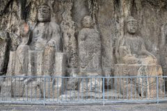 Die Steincarvings in den Longmen-Grotten in Henan-Provinz in China lizenzfreies stockbild