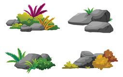 Die Steine und die Sträuche verzieren den Garten schön Lizenzfreie Stockfotografie