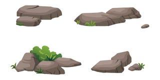 Die Steine und die Sträuche verzieren den Garten schön Lizenzfreies Stockbild