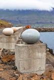 Die Steineier des fröhlichen Schachtes, Djupivogur, Island Stockfotografie